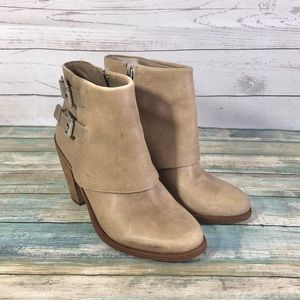 Jessica Simpson Cainn Ankle Boots Taupe Leather 6
